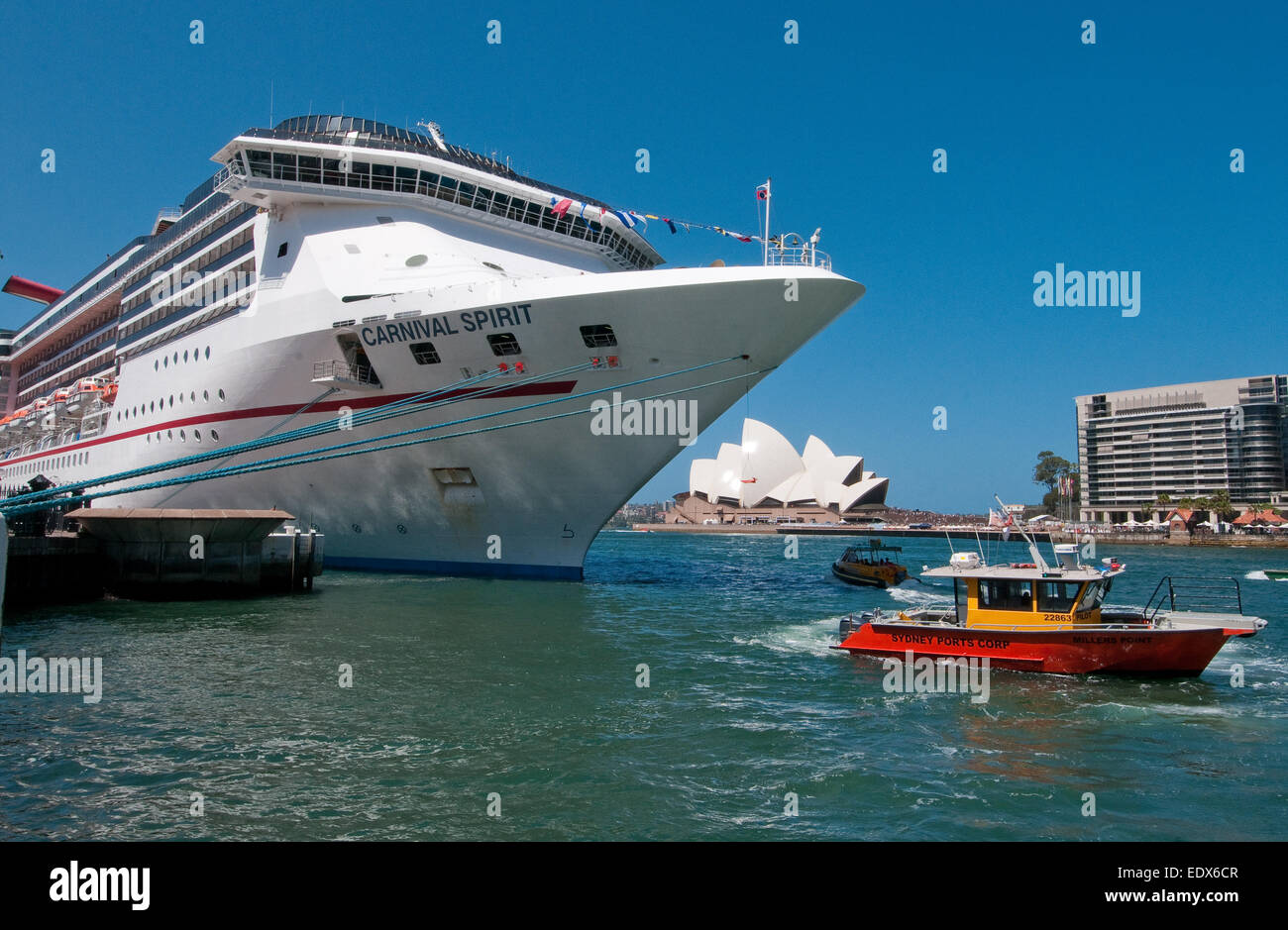 Cruise ship and pilot vessel at Circular Quay, Sydney Harbour, New South Wales, Australia - Stock Image