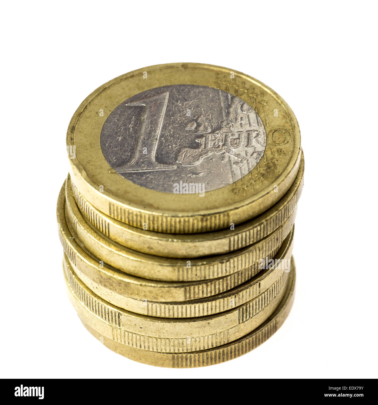 Pile of one Euro coins - Stock Image