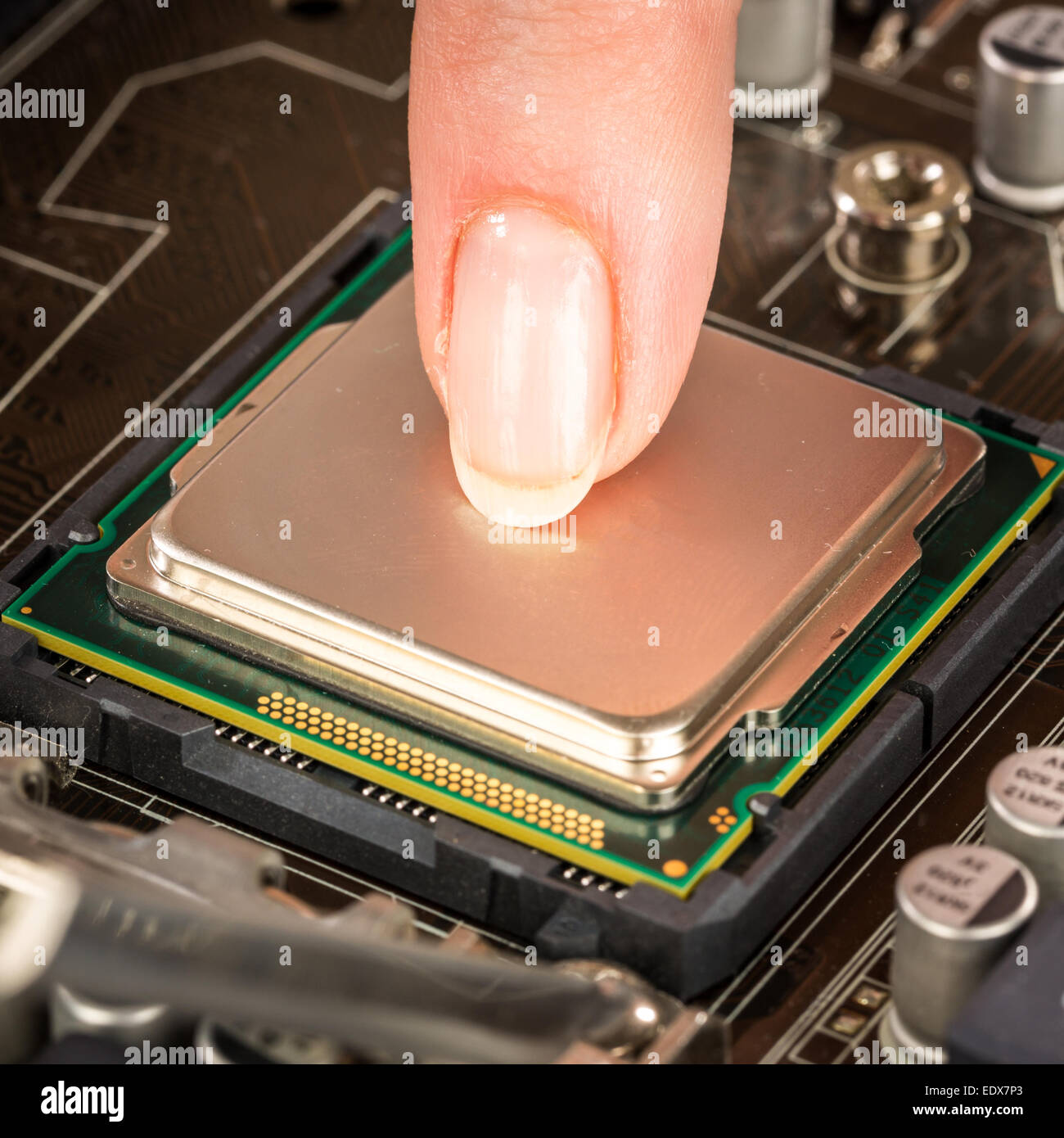 Modern processor and motherboard for a home computer - Stock Image