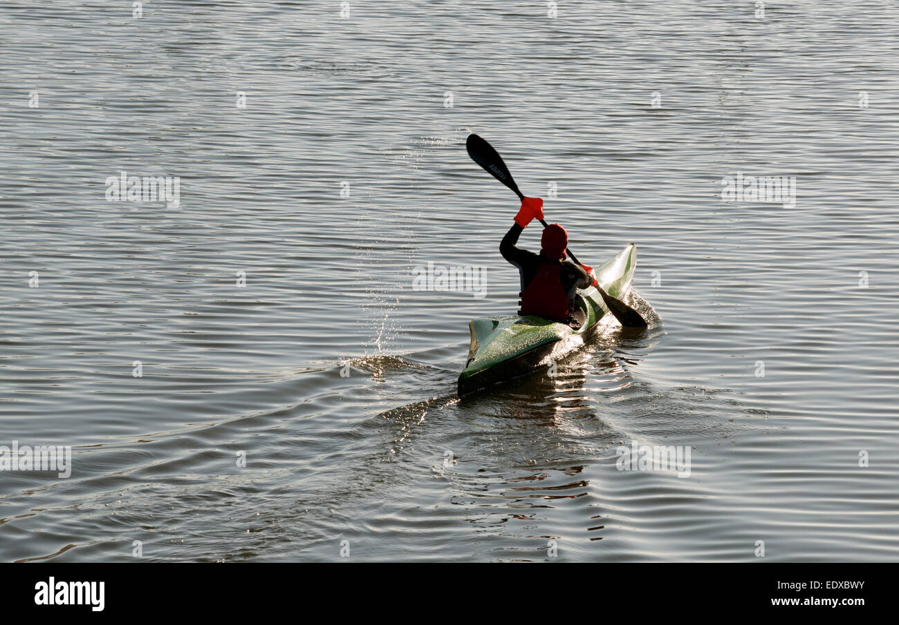 Canoeist, river Rhine, Cologne, North Rhine-Westphalia, Germany. - Stock Image