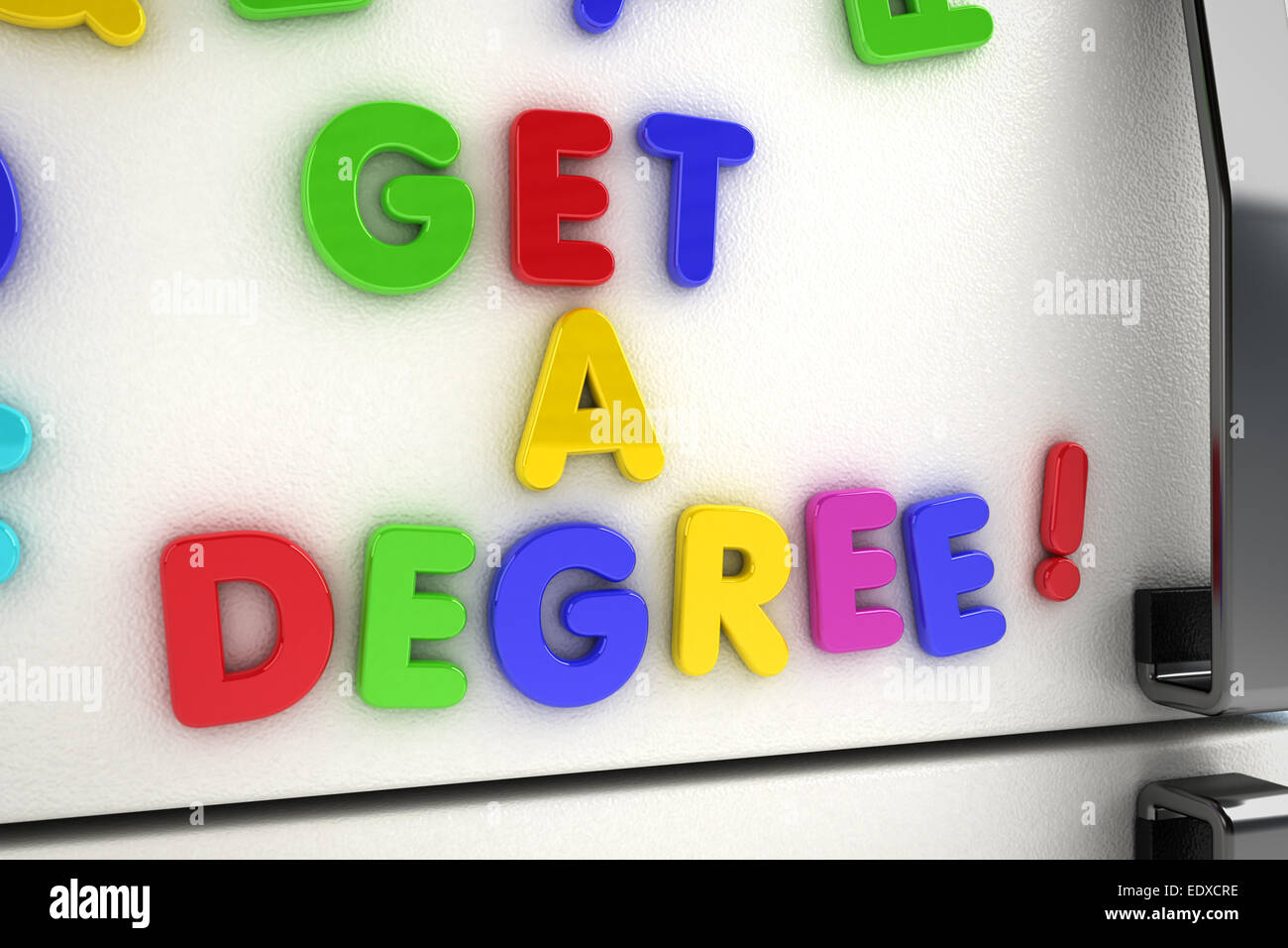 The words get a degree written with magnet letters - Stock Image