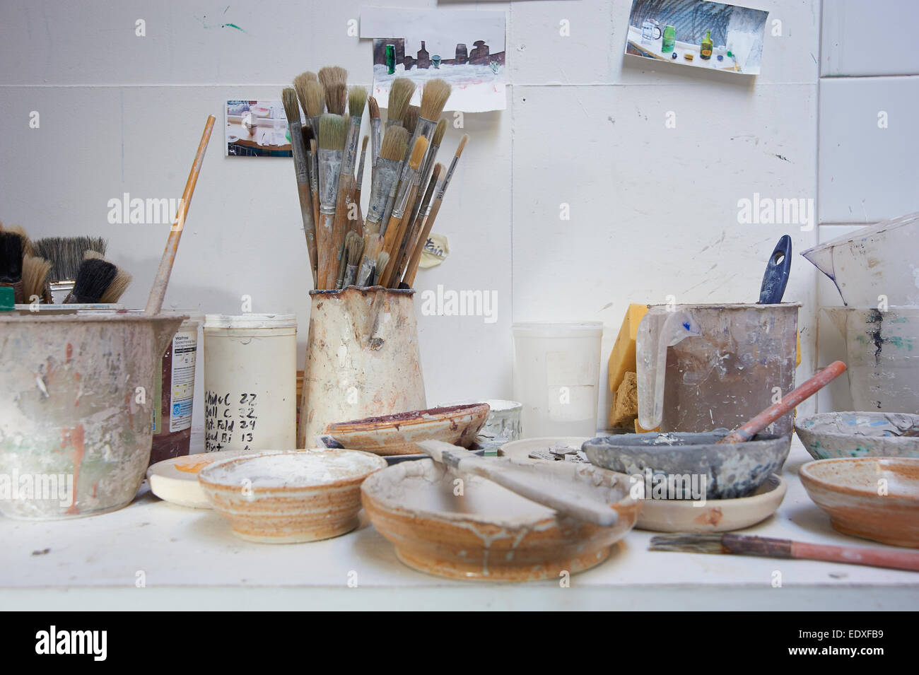 Still life of tools within a potters studio - Stock Image