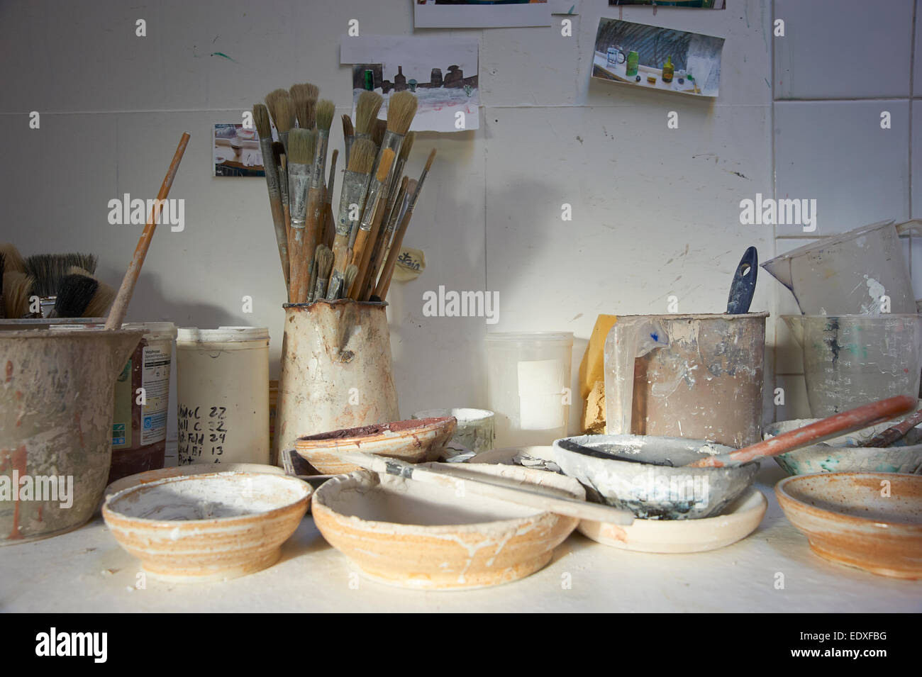 Still Life of the tools of a potter or ceramicist in their studio - Stock Image