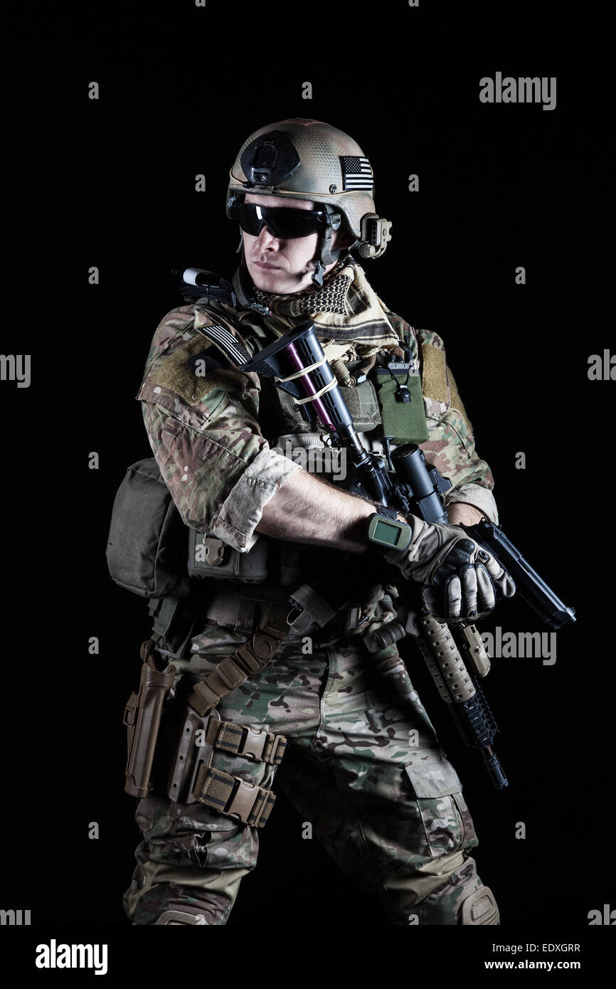 United States Army ranger with pistol - Stock Image