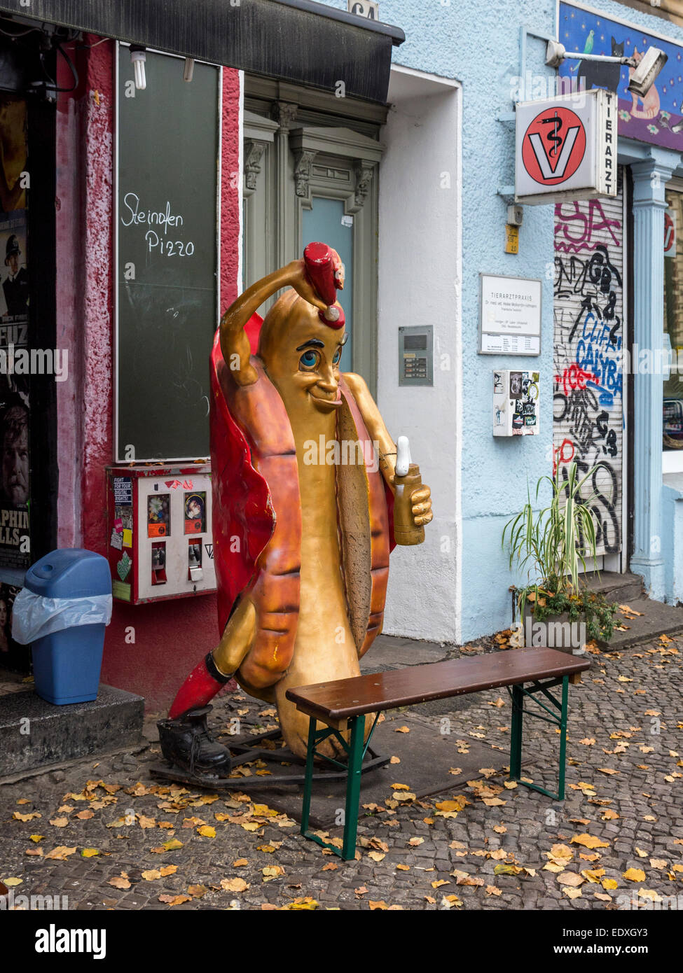 Nice Giant Hot Dog With Roll, Tomato Sauce And Mustard   Smiling Plaster Mascot  Outside Fast Food Shop, Mitte, Berlin, Germany