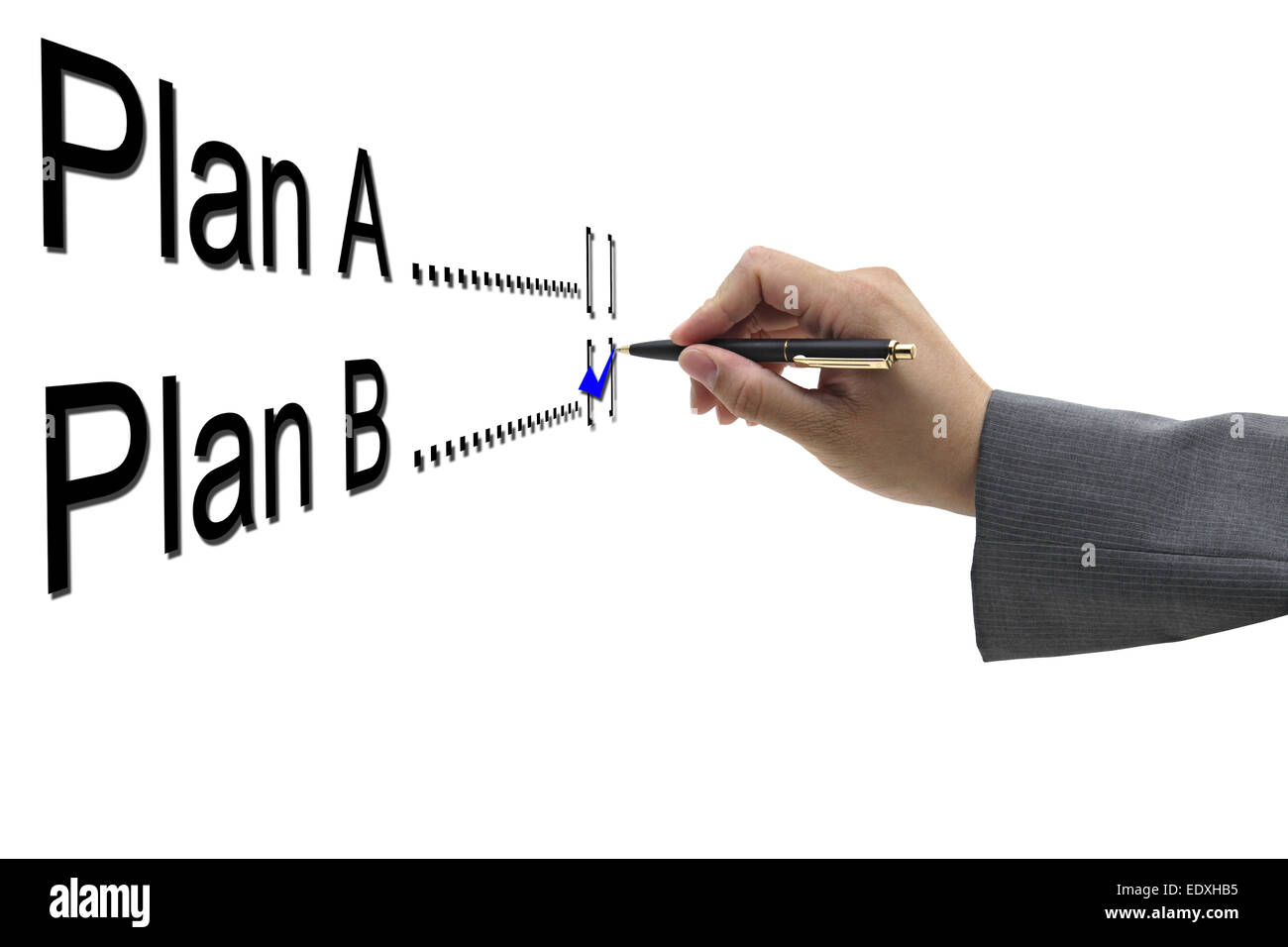 asian Businessman hand choosing plan B option - Stock Image