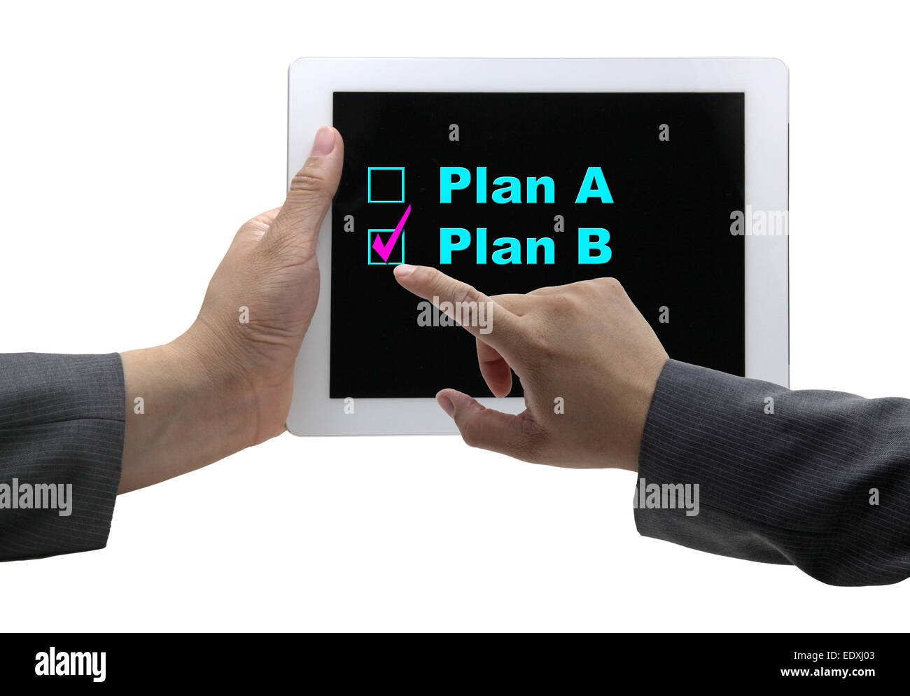 asian Businessman hand choosing plan B option on touch screen tablet - Stock Image