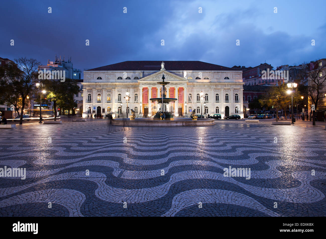 Dona Maria II National Theater on Rossio Square at night, Lisbon, Portugal. Stock Photo