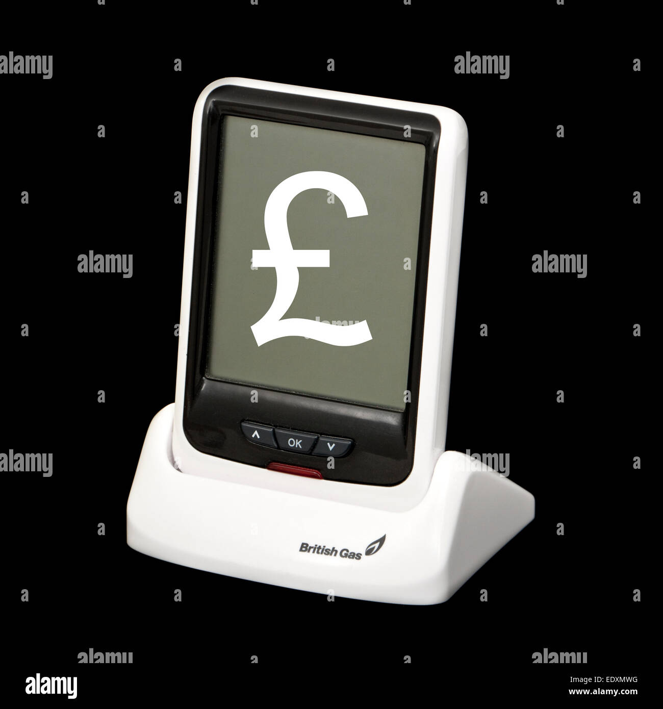 British Gas smart meter (real-time electricity monitor) with £-sign superimposed on screen - Stock Image