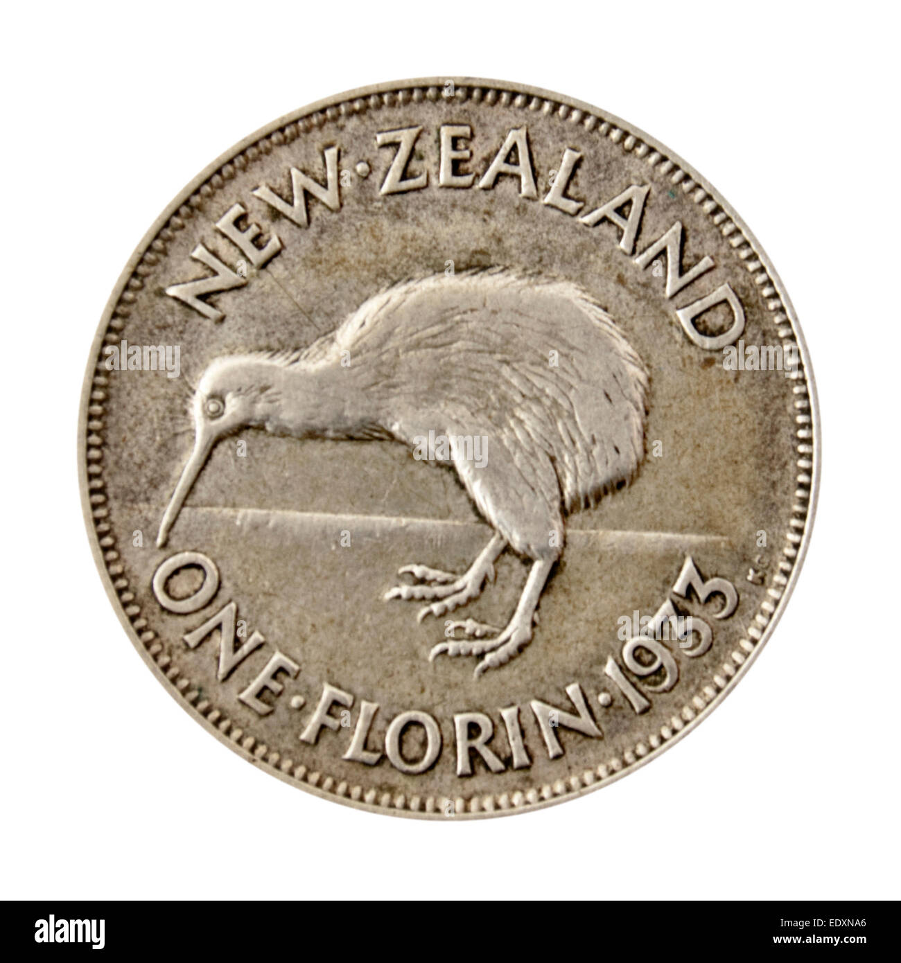 Vintage 1933 'One Florin' (2 Shillings) New Zealand coin, featuring the Kiwi bird on the reverse - Stock Image