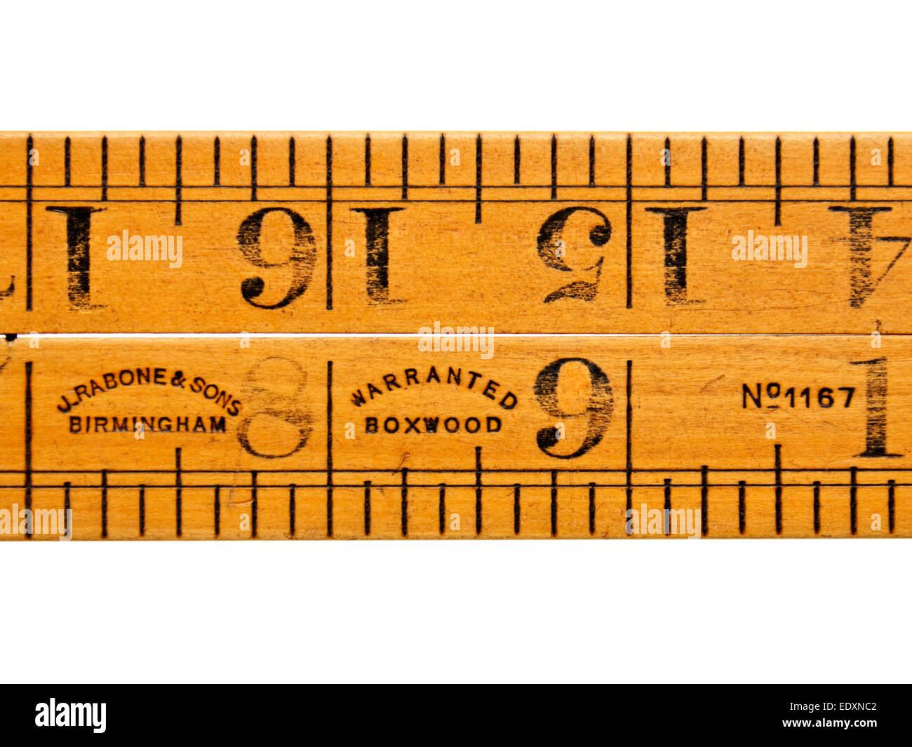 Antique (c.1890) boxwood folding rule No 1167 by John Rabone & Sons,  Birmingham, England