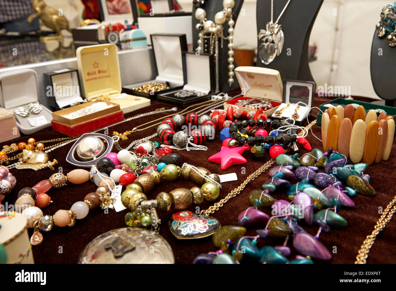 Home Made Small Business Jewelry Items On A Stall In A Craft Market