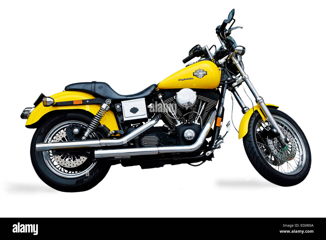 Harley Davidson Cruiser Motorcycle Cut out Yellow and chrome, Dublin - Stock Image