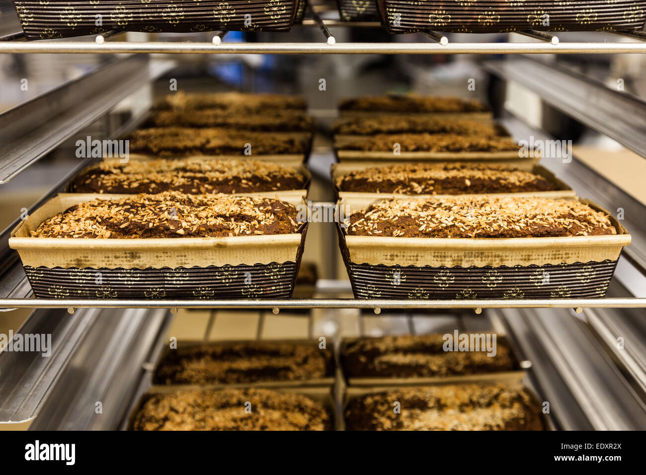 Gluten-free and vegan coconut-banana dessert loaves cooling after being baked - Stock Image