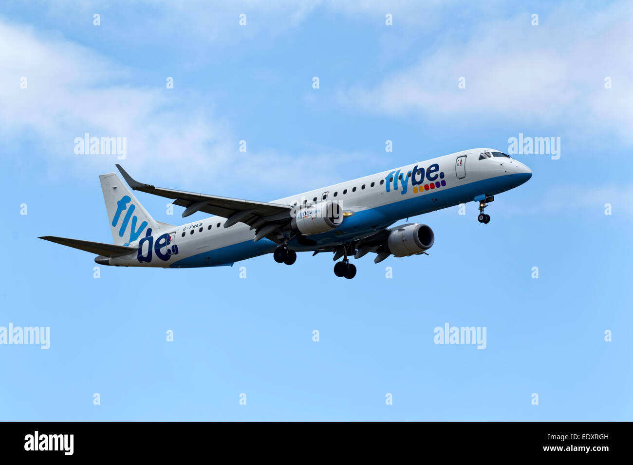 A Flybe Airline Embraer 195 at the Royal International Air Tattoo, RAF Fairford, Gloucestershire, 2011. - Stock Image