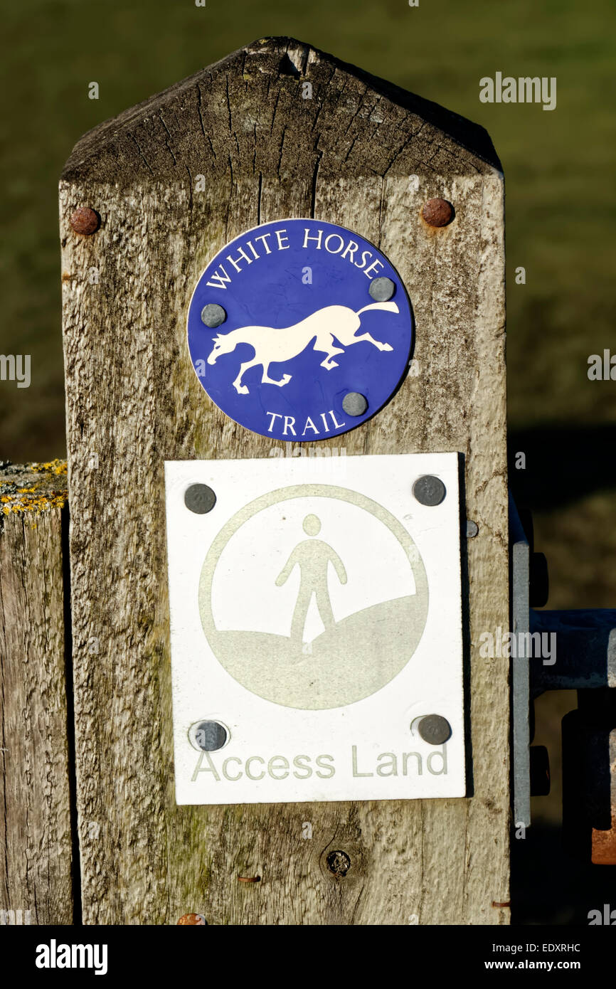 Wiltshire White Horse Trail and Access Land Signs on a gatepost at the Westbury White Horse, Wiltshire, United Kingdom. - Stock Image