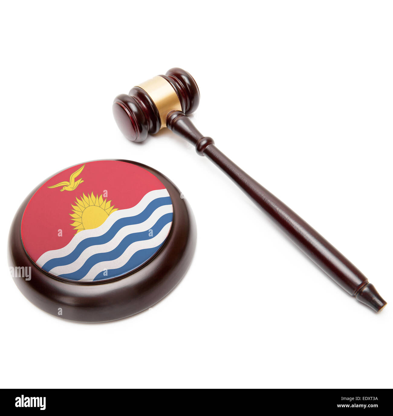 Judge gavel and soundboard with national flag on it - Kiribati - Stock Image