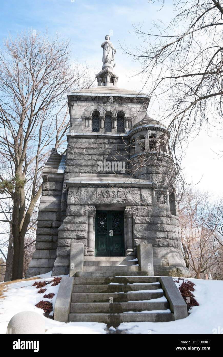 The Romanesque revival style mausoleum of Canada's well-known Massey family located in Toronto's Mount Pleasant - Stock Image