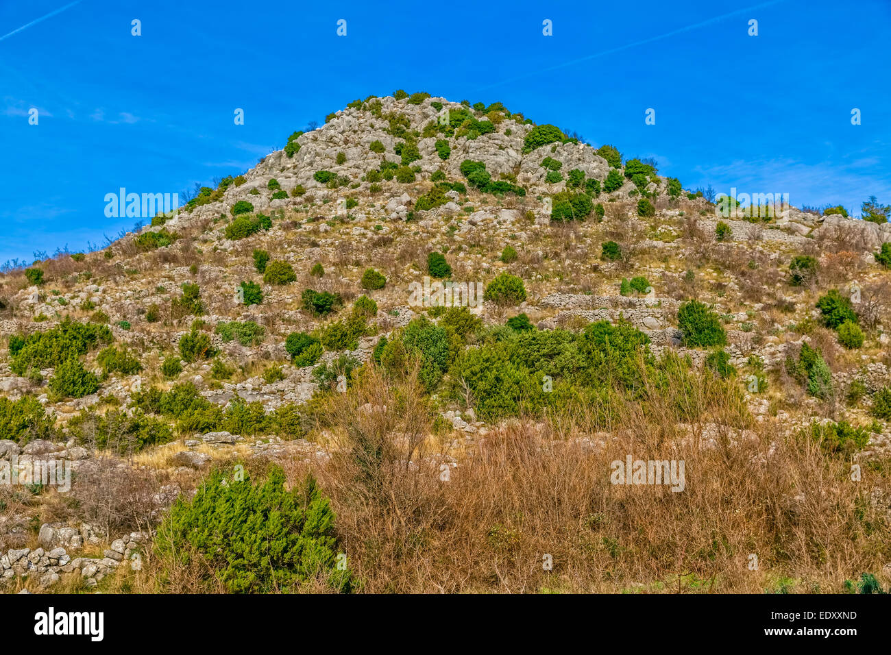 Panorama of the nature in Dalmatian hinterland, winter time. - Stock Image