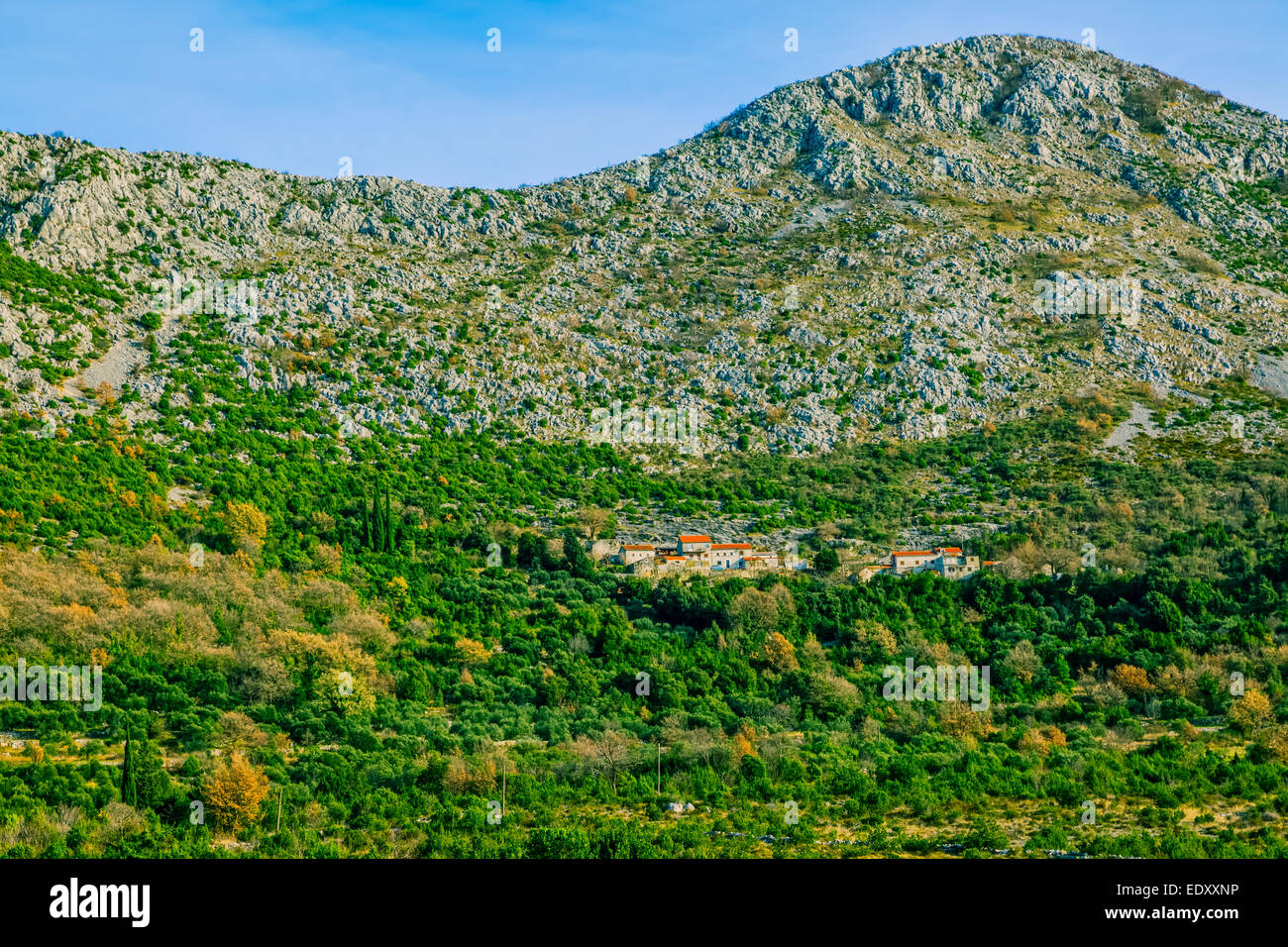 Small village in the mountain in Dalmatian hinterland, winter time. - Stock Image