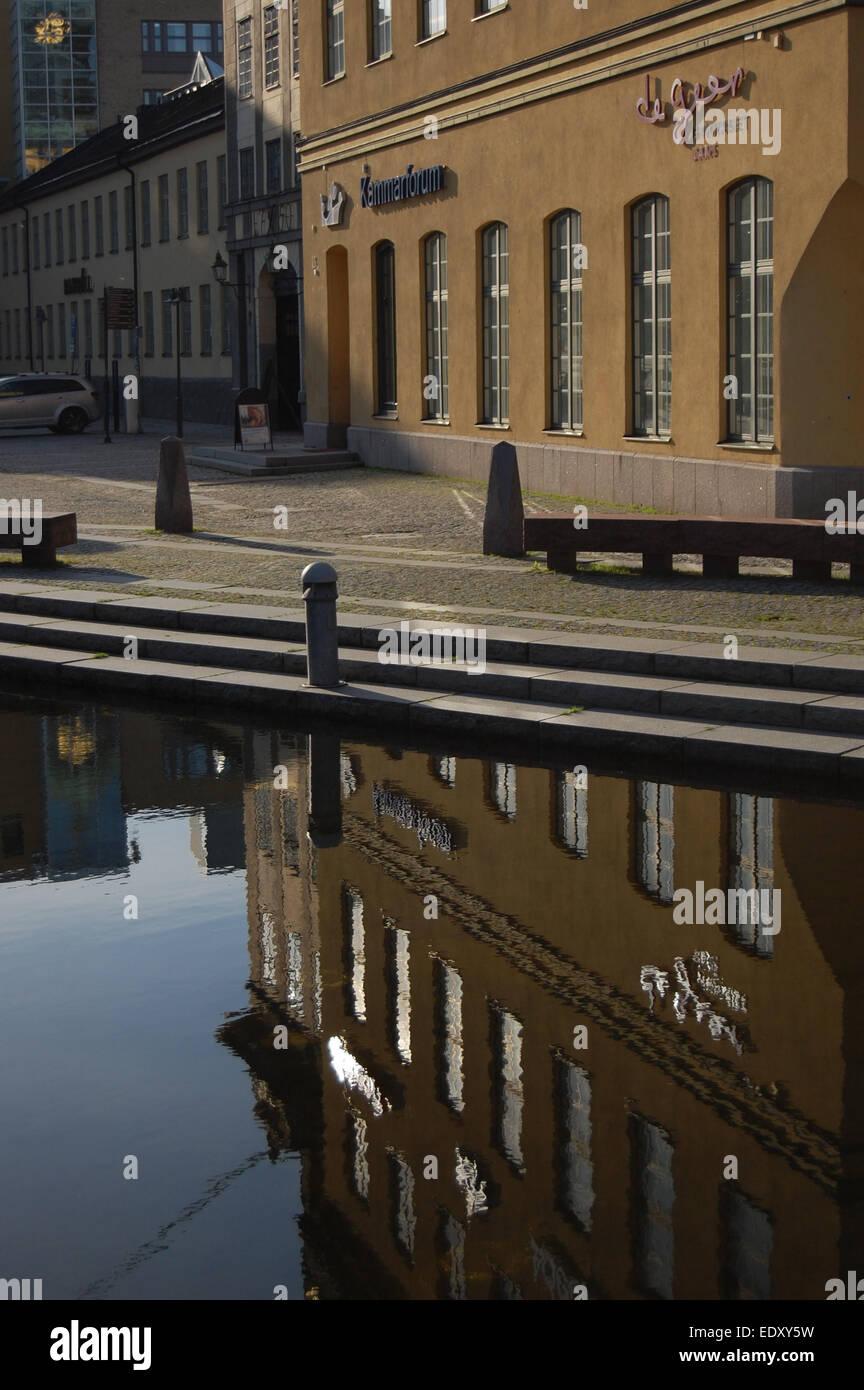 Reflection on still water, Norrköping Sweden - Stock Image