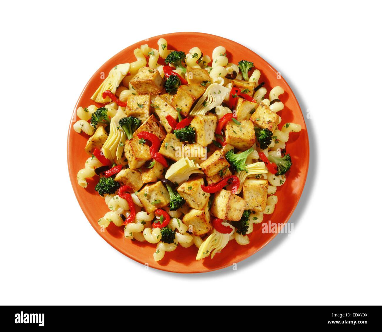 Tofu and Veggie Pasta - Stock Image