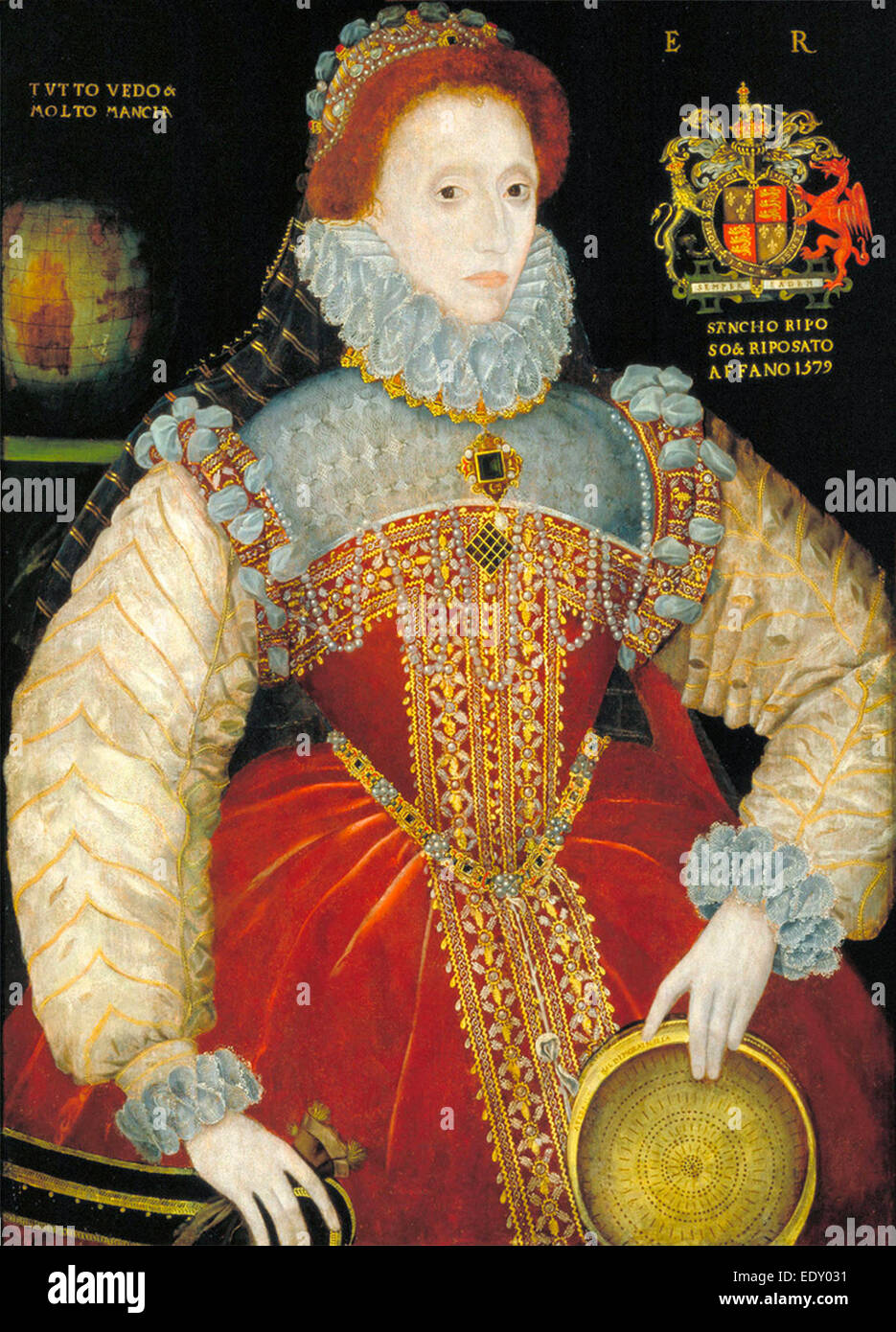Elizabeth I, Queen of England, depicted with a sieve in her left hand. The sieve alludes to the myth of Tuccia, - Stock Image