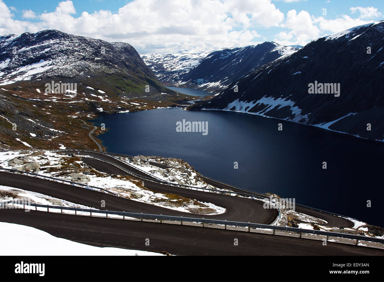 Road to Dalsnibba and Djupvatnet lake in Norway - Stock Image