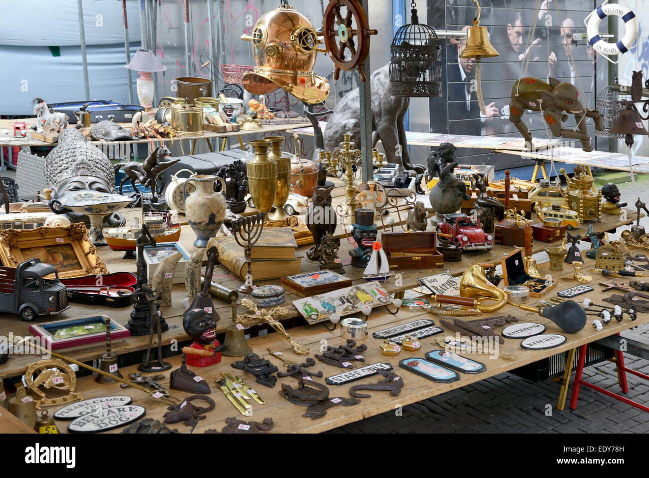 Market stall at Waterlooplein Market, Amsterdam, North Holland, Netherlands, Europe - Stock Image