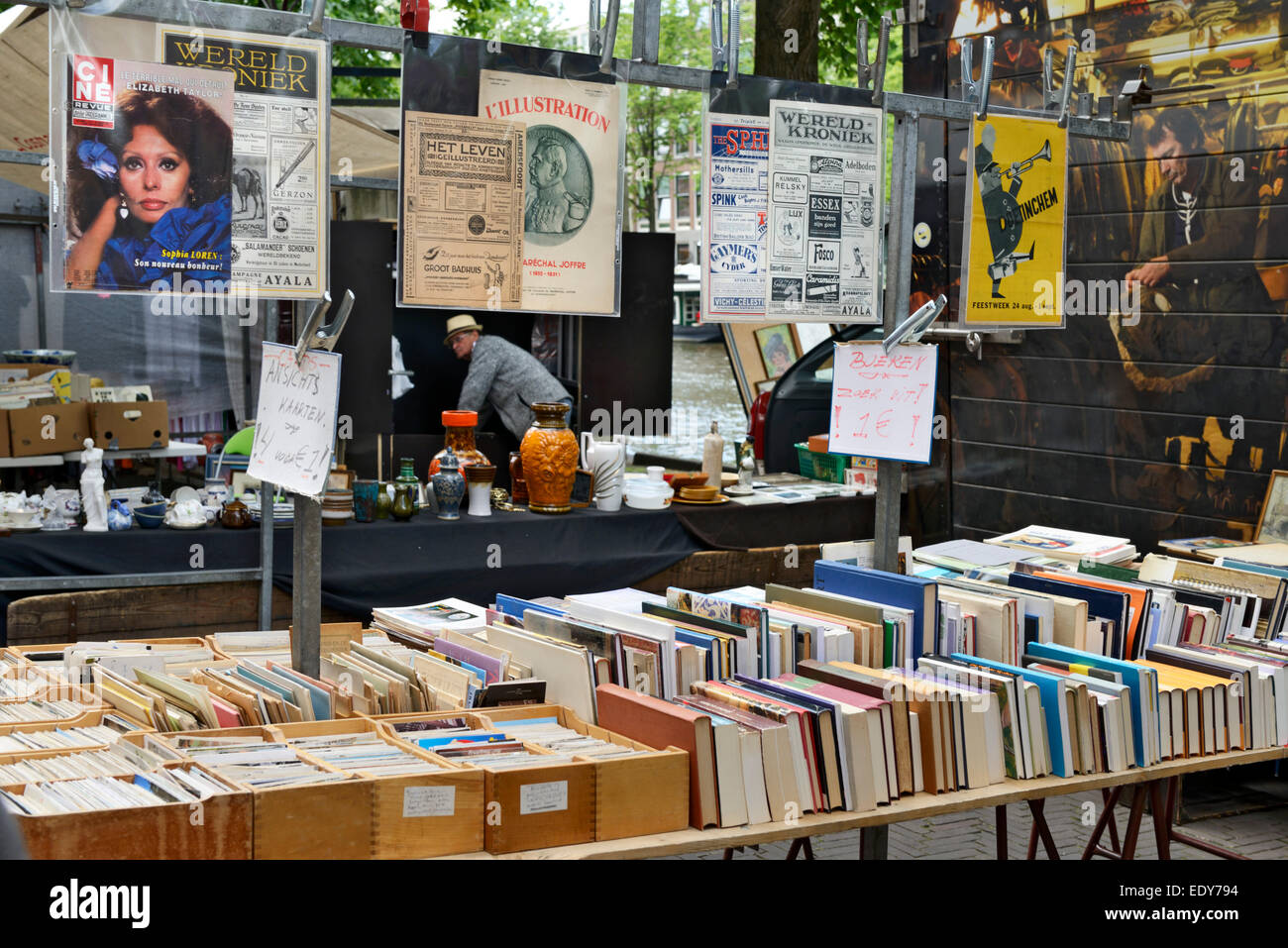 Bookstall on Waterlooplein Flea Market, Amsterdam, North Holland, Netherlands, Europe - Stock Image