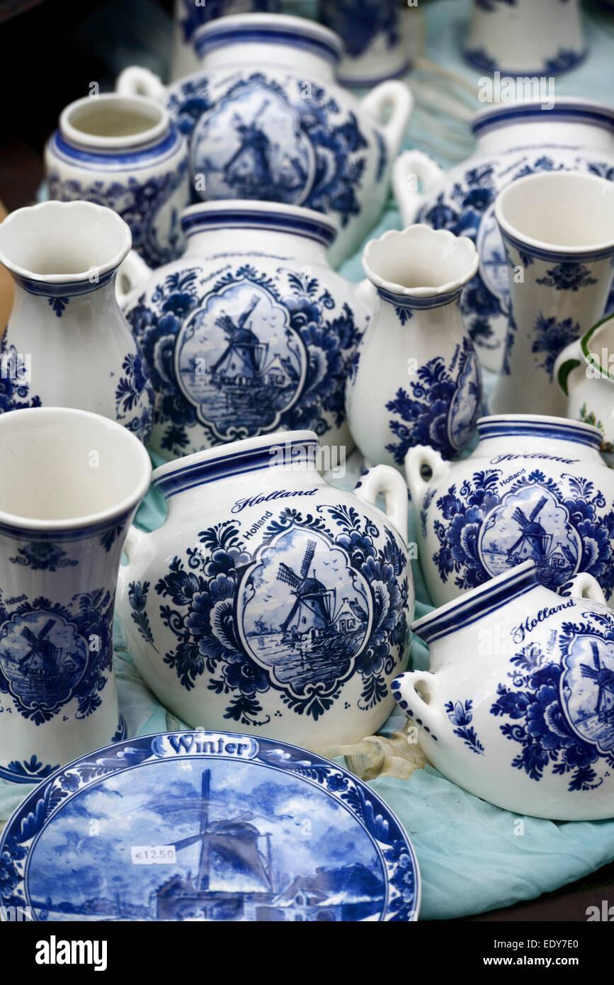 Delft pottery on Waterlooplein Flea Market, Amsterdam, North Holland, Netherlands, Europe - Stock Image
