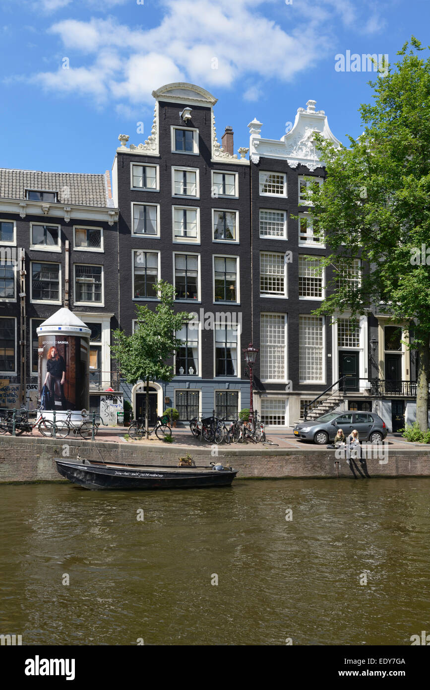 Typical  Dutch Renaissance style.merchants houses, Herengracht, Amsterdam, North Holland, Netherlands, Europe - Stock Image