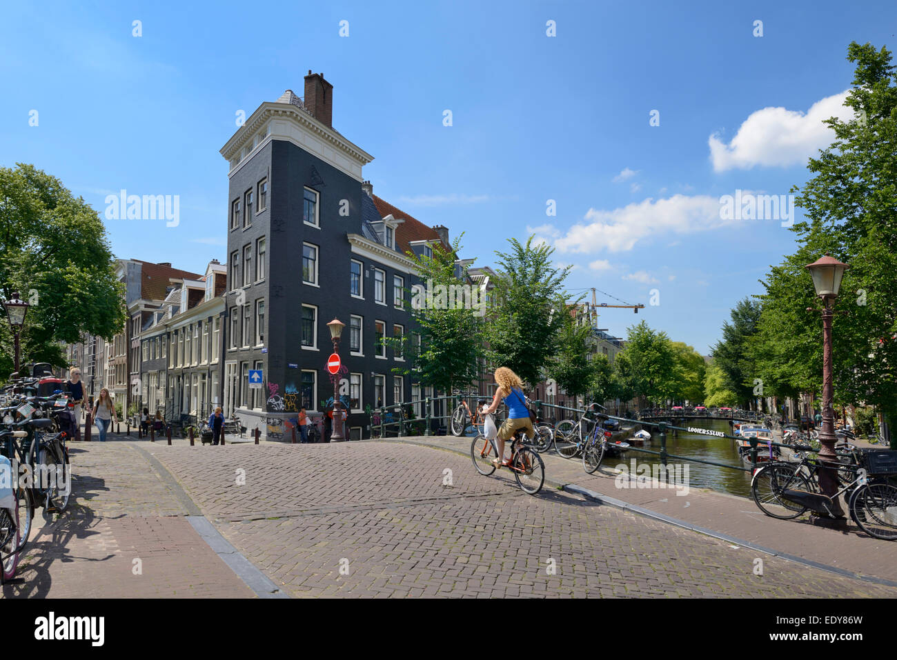 Canal bridge, Prinsengracht, Amsterdam, North Holland, Netherlands, Europe - Stock Image