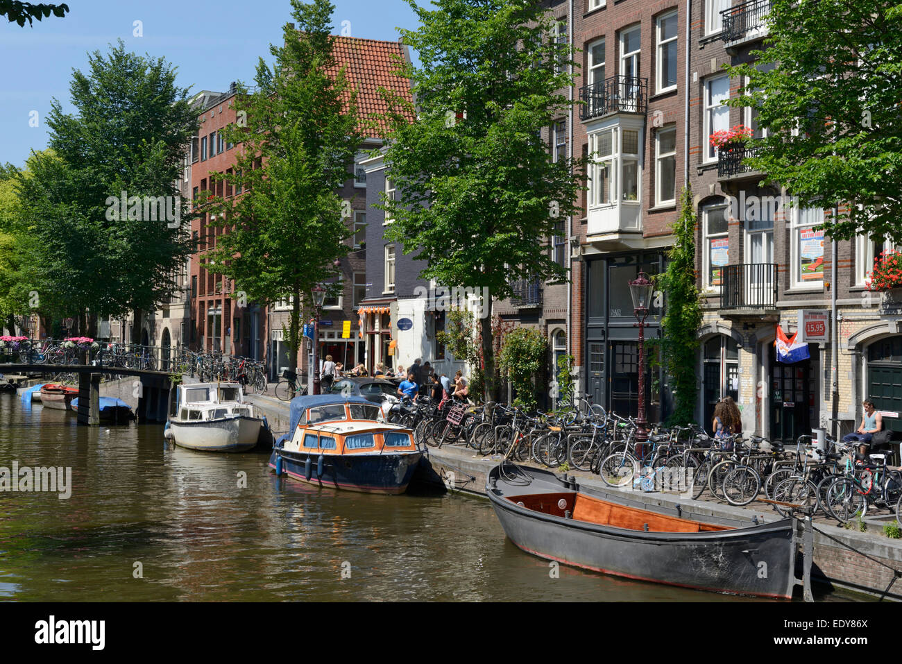 Canalside buildings, Prinsengracht, Amsterdam, North Holland, Netherlands, Europe - Stock Image
