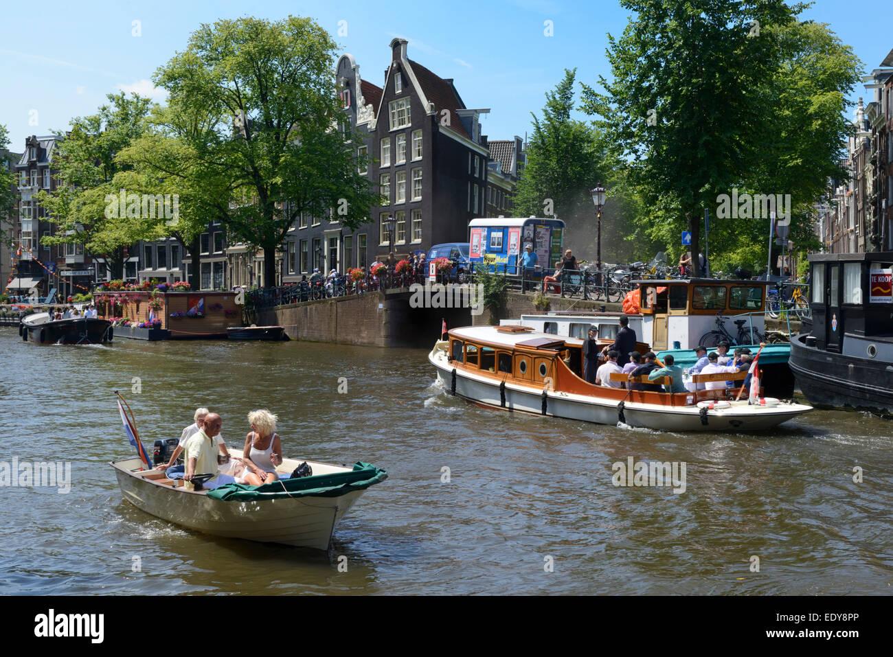 Pleasure boats, Prinsengracht, Amsterdam, North Holland, Netherlands, Europe - Stock Image