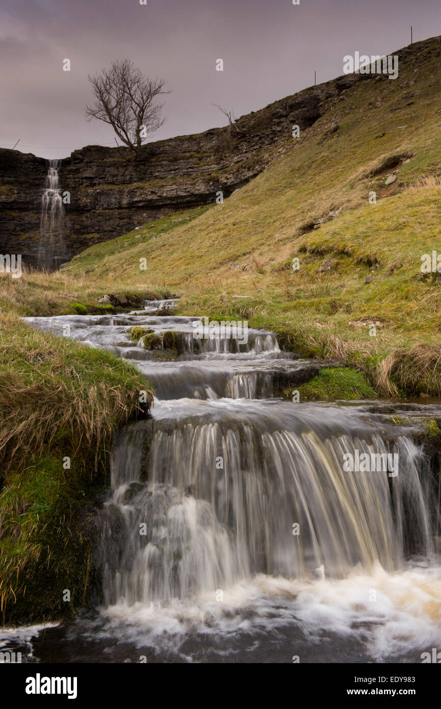 Water tumbles & cascades over rocky steps after plunging over a high cliff at Cray Gill Waterfalls - near Cray, - Stock Image