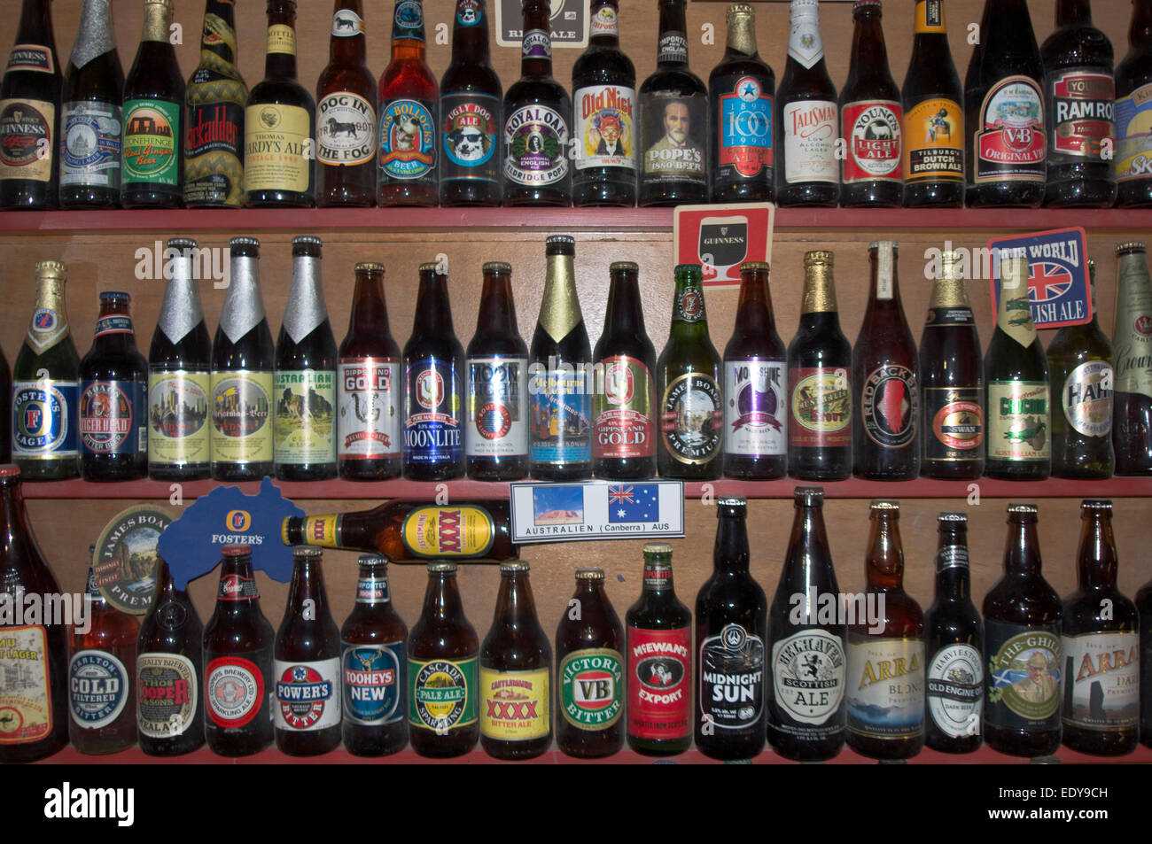 shelf of beer bottles a tiny part of the impressive collection
