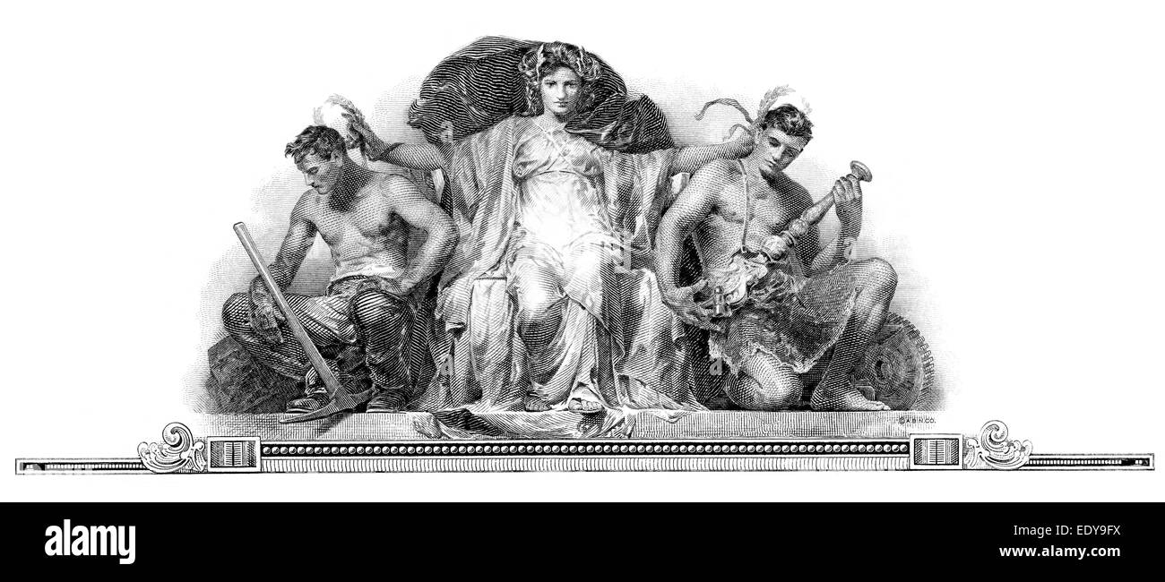 Steel engraving, allegorical depiction, historical share, detail, Lackawana Securities Company, 1927, Delaware, - Stock Image