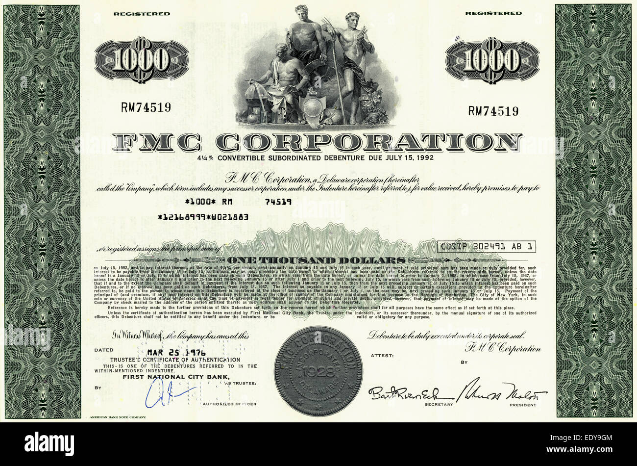 Historic share certificate, FMC Corporation, 1976, New York, USA - Stock Image