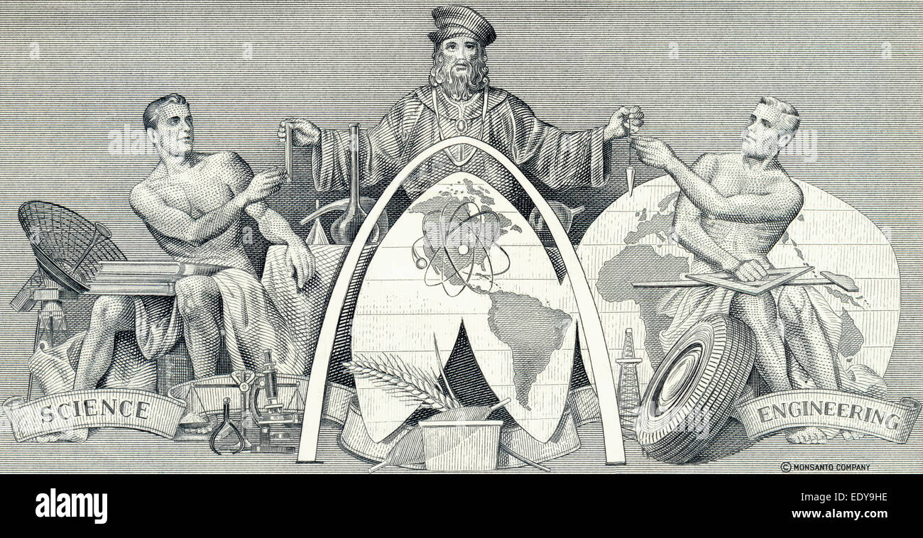 Steel engraving of a historical share, detail, allegorical depiction of worldwide research in engineering and chemistry, - Stock Image