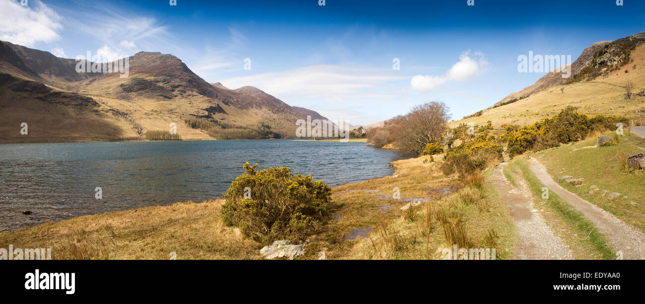 UK, Cumbria, Lake District, Buttermere, from Lower Gatesgarth, panoramic - Stock Image