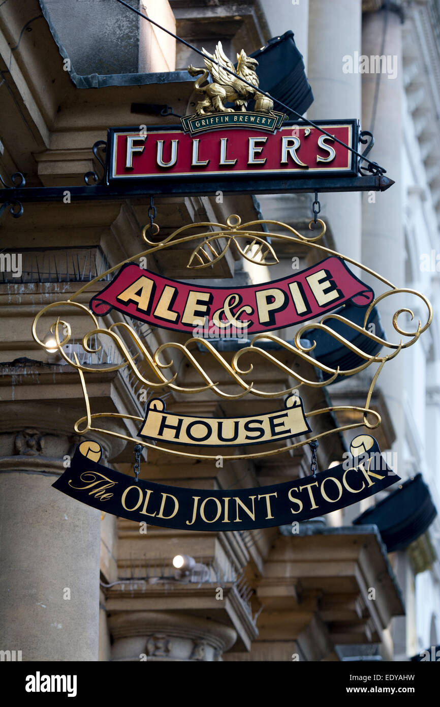 The Old Joint Stock pub sign, Birmingham, UK - Stock Image