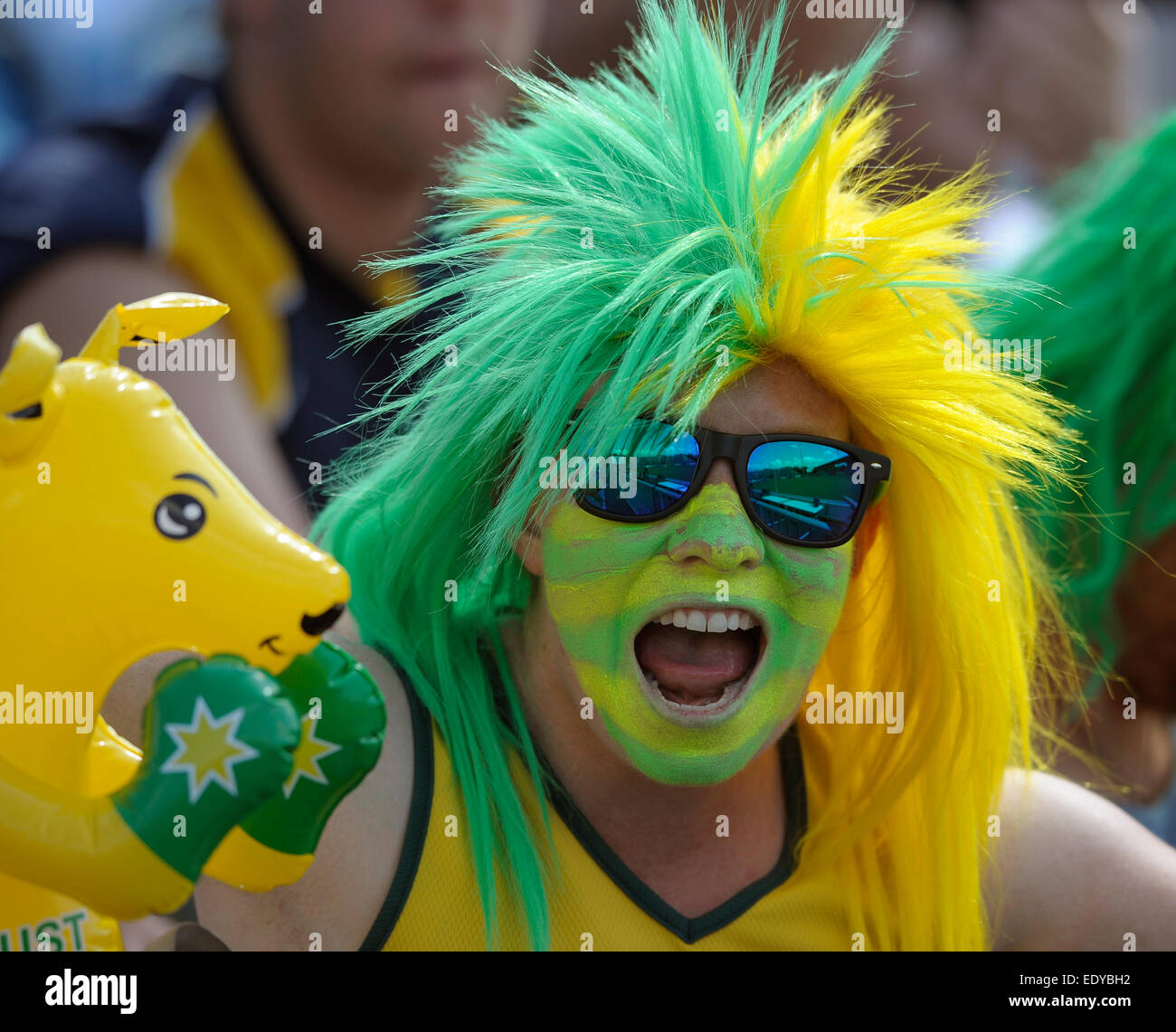 Aussie fans during their pool game at the XX Commonwealth Games, Glasgow, 25th July 2014. - Stock Image