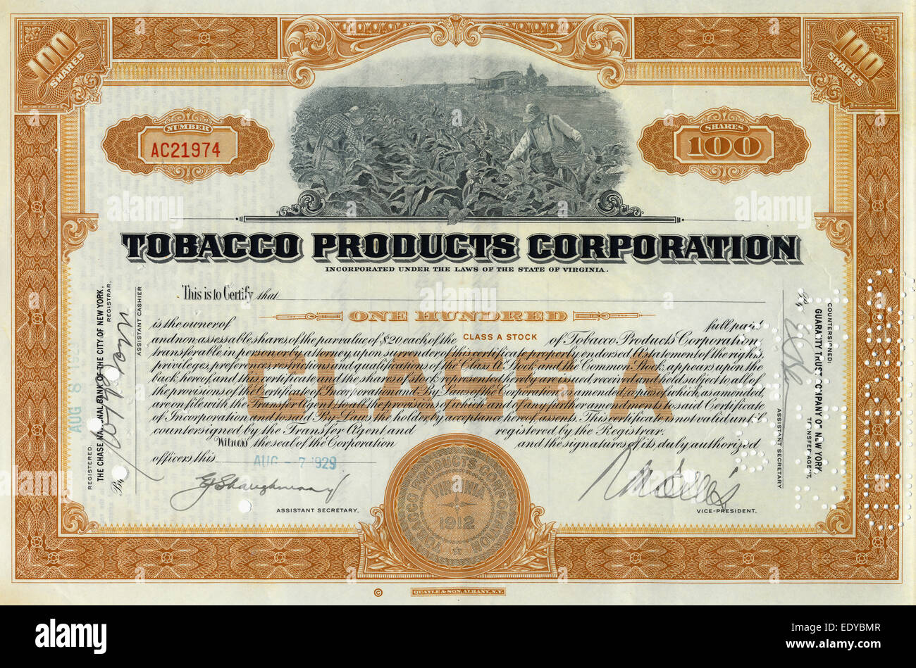 Steel engraving, motif with tobacco harvest, detail, historical share - Stock Image
