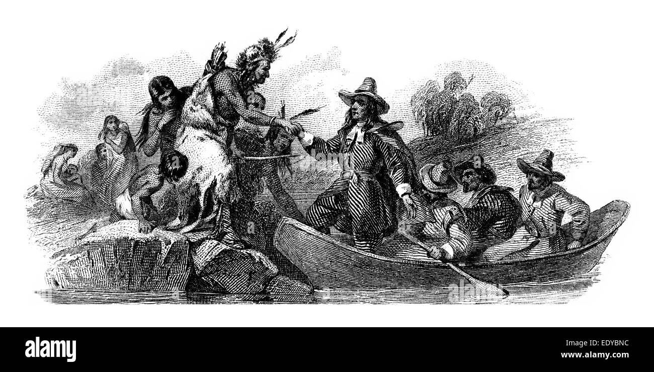 Steel engraving of a friendly encounter between Whites and Red Indians, historical share Detail - Stock Image