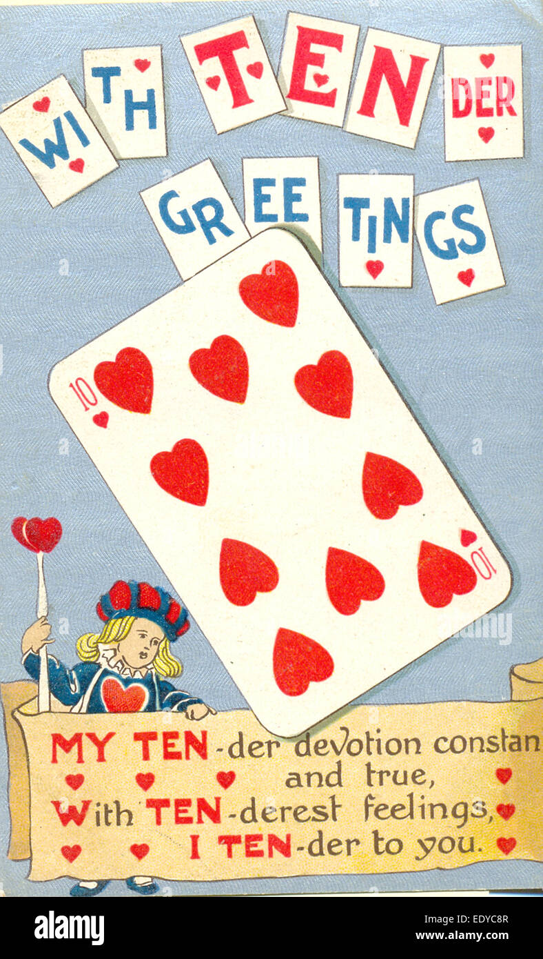 Valentine Postcard With Playing Card Puns Stock Photo 77434359 Alamy