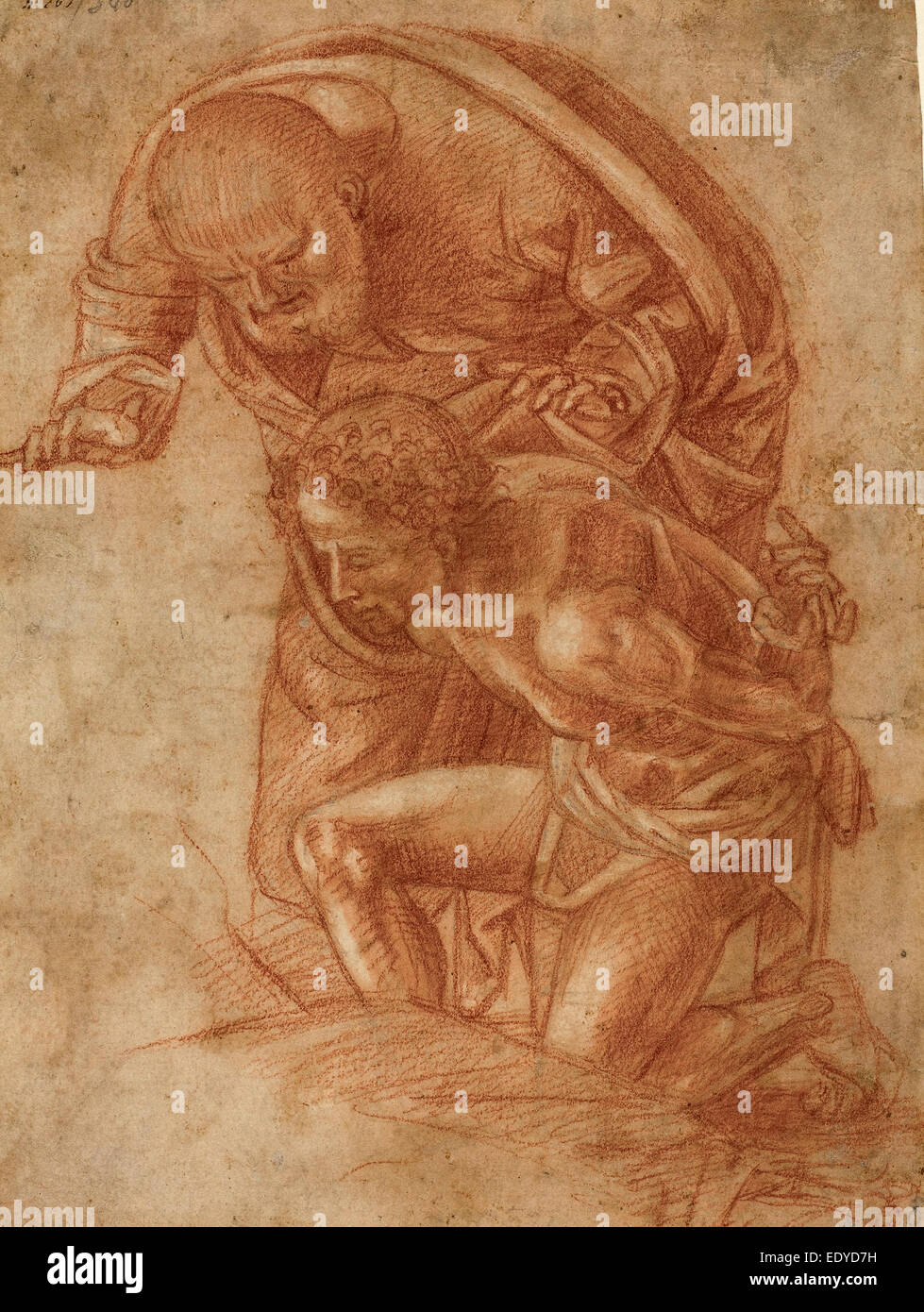 Workshop of Luca Signorelli, The Sacrifice of Isaac, c. 1500, red chalk with white heightening on laid paper - Stock Image
