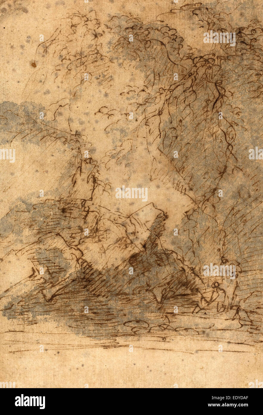 Salvator Rosa (Italian, 1615 - 1673), Landscape, mid 1660s, pen and brown ink with gray wash on laid paper Stock Photo