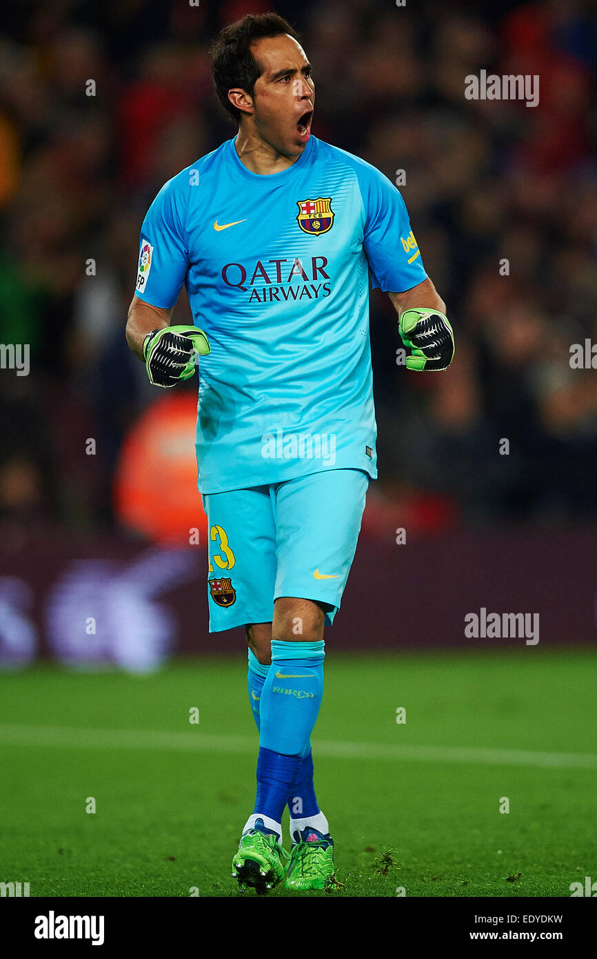 Claudio Bravo (FC Barcelona) celebrates after the second goal of FC Barcelona, during La Liga soccer match between - Stock Image