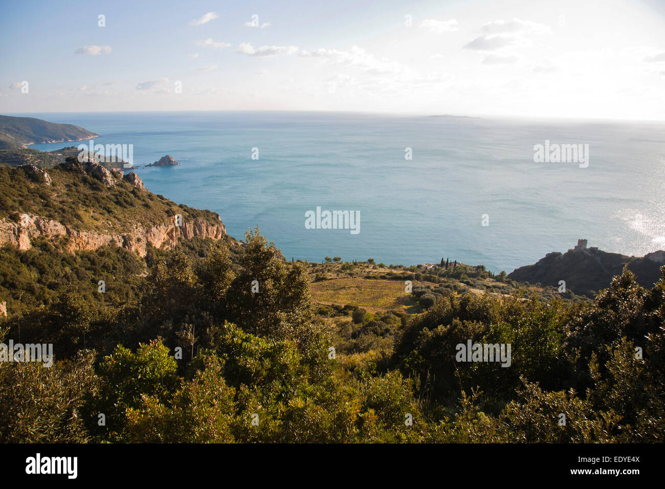 panorama with giannutri island, argentario, tuscany, italy, europe - Stock Image
